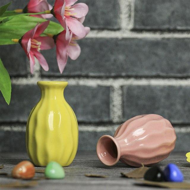 4 Color Mini Vase Ceramic Pottery Flower Creative Pot Office Bedroom