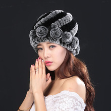 Hot 2016 New 100% Genuine Knitted Rex Rabbit Fur Hat Winter Lady Floral Cap Female Headgear Women Fur Beanies hats free shipping
