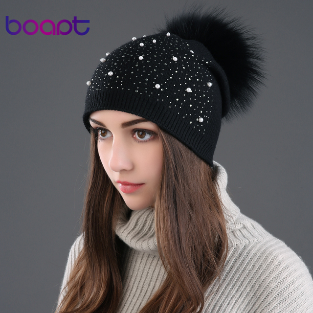 BOAPT rhinestones diamond pearl double-deck knitted cashmere winter hats for women cap real raccoon fur pompom hat female beanie