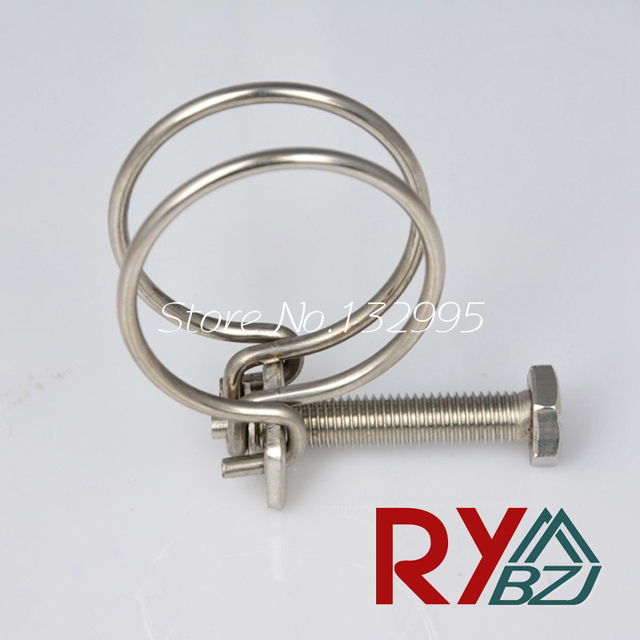10pcs/lot 14 120 Double Wire Hose Clamps with bolt 304 Stainless ...