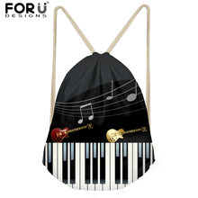 FORUDESIGNS Men Small Backpack Music Notes with Piano Keyboard Men's Mochila Casual Drawstring Bags for Kids Boys School Bag New(China)