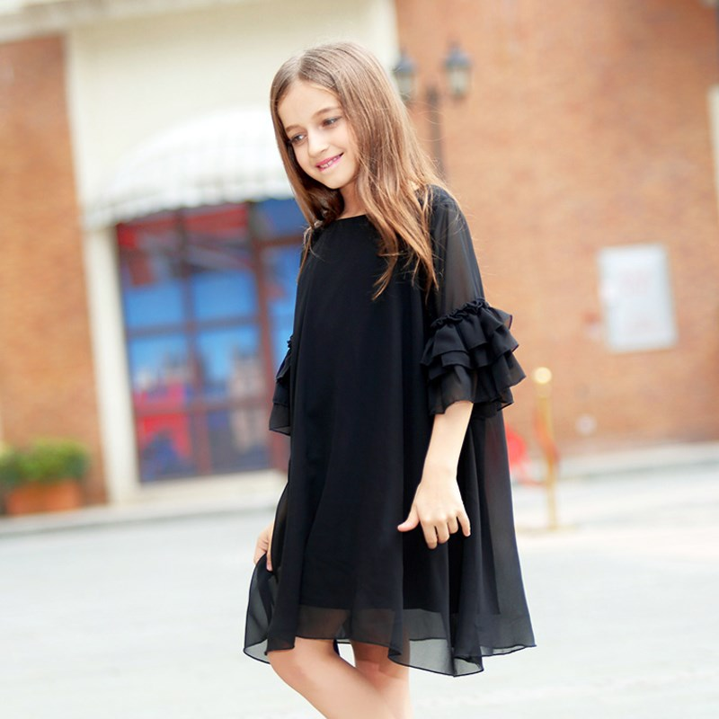 Big Girls Dress Age 10 12 years Summer Chiffon Dress Flare Sleeve Black Dress For Little Girl Size 6 7 8 9 Teenage Girls Clothes kids 2017 new summer big flower chiffon girl dress sleeveless solid color dress 3 4 5 6 7 8 9 10 11 12 years baby girl clothes