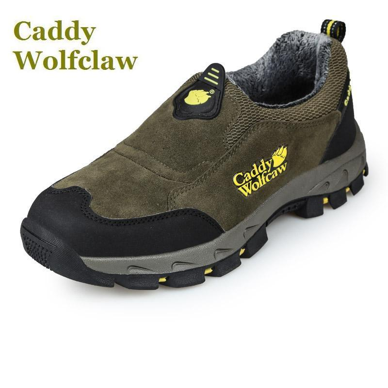 Caddy Wolfclaw 2016 Autumn winter hiking shoes fur warm outdoor sport shoes men sneakers slip on suede leather winter shoes male