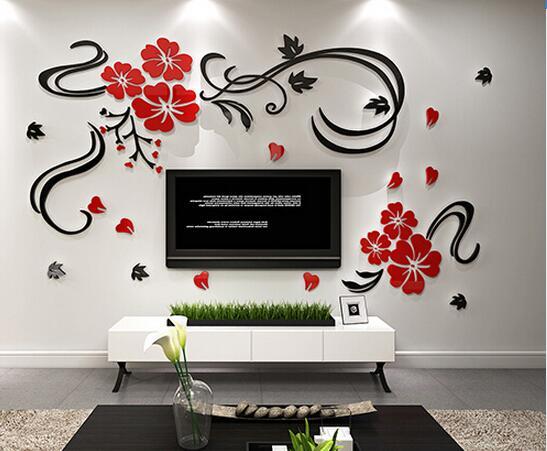 Acrylic Crystal Wall Decor: DIY 3D Flower Vine Acrylic Crystal TV Wall Stickers Three