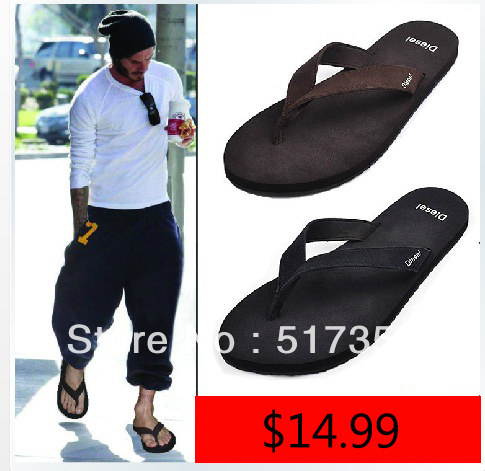 b7245ff05be Free Shipping Men s Beckham Celebrity brand designer casual genuine leather  rubber outsole beach flip flops slippers shoes