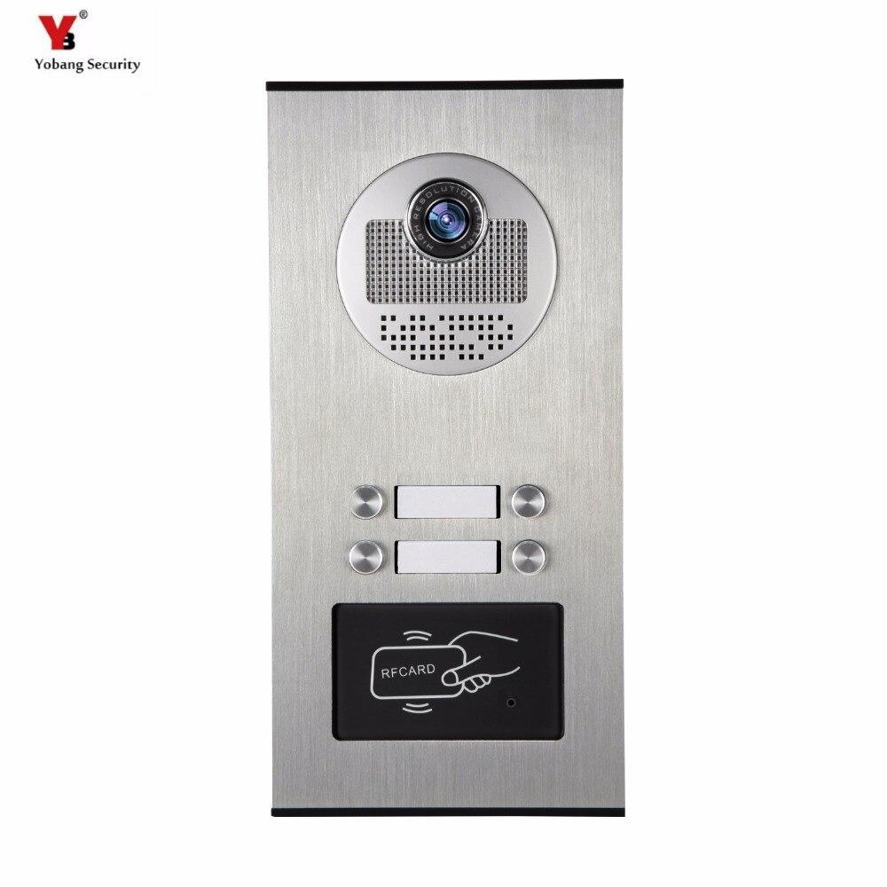 Yobang sécurité 4 unités appartement vidéo interphone vidéo porte téléphone extérieur sonnette IR caméra avec Vision nocturne peut lecteur carte