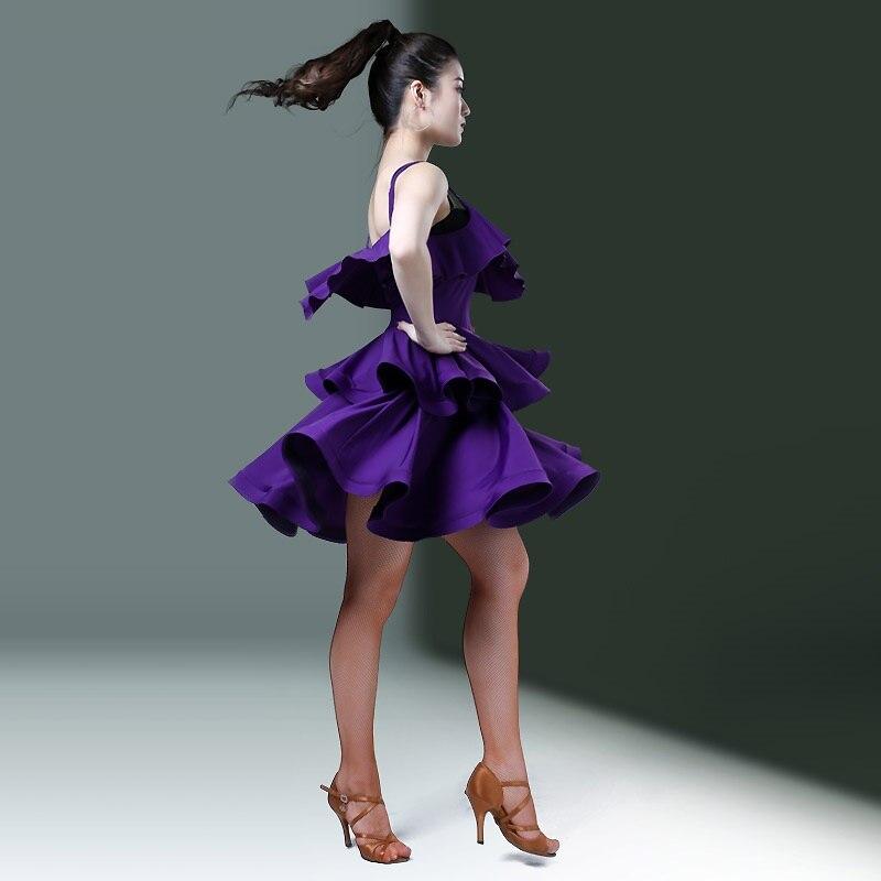 Violet latin robe salsa costumes tango robe frange danse porter latin danse robe femmes samba costume danse vêtements pour danser