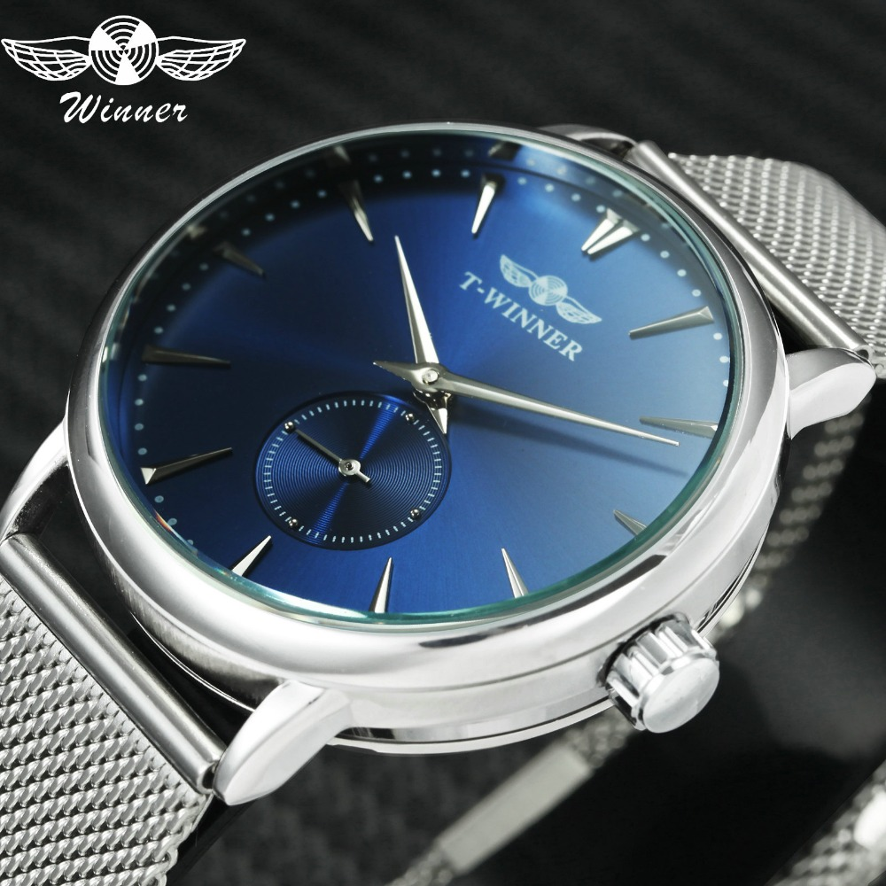 WINNER 2019 Men Women Watches Mechanical Movement Working Sub-dial Ultra Thin Mesh Band Blue Coupon Wrist Watch Top Brand Luxury