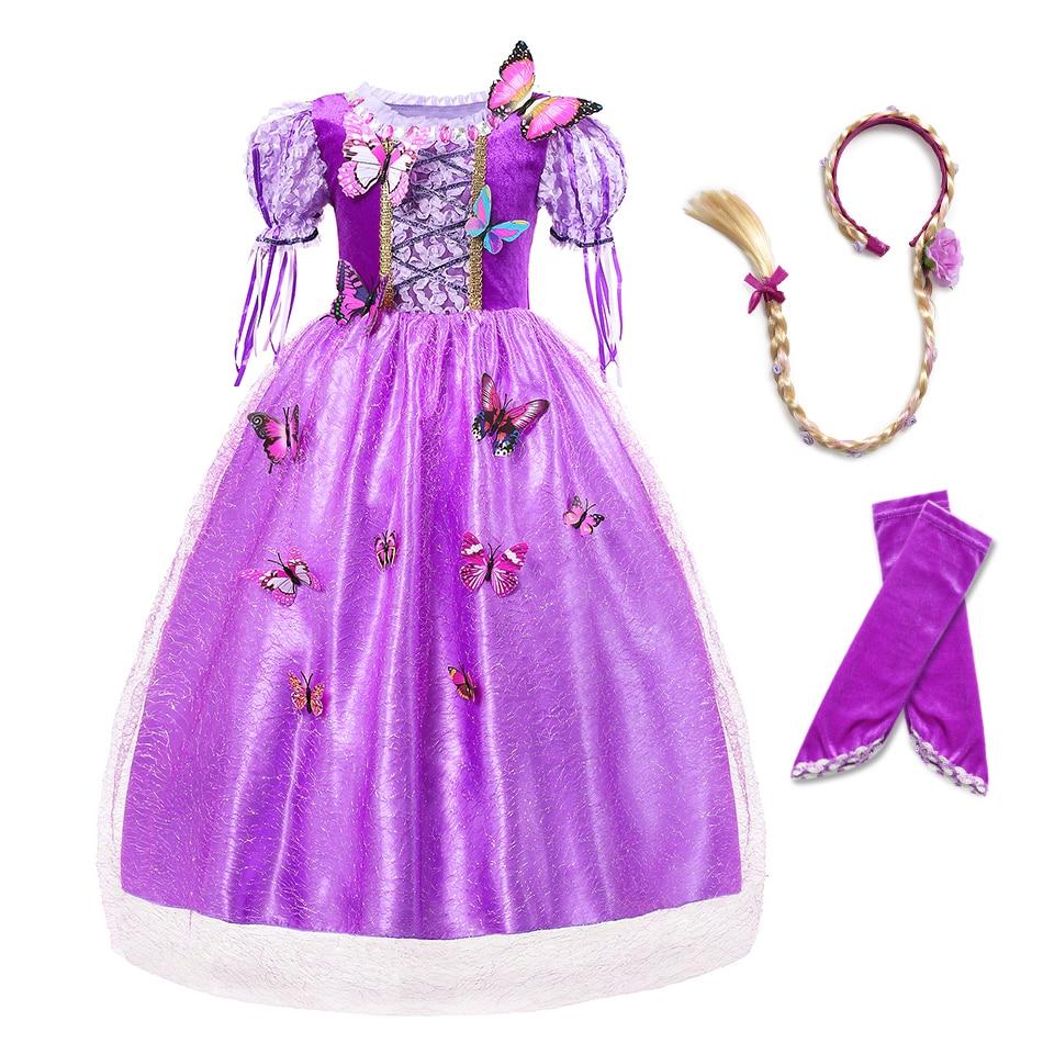 c11f305a5 Las chicas Rapunzel vestido Puff manga 5 capas enredado el traje de la  princesa con Oversleeve niños Hallowen vestidos de fiesta
