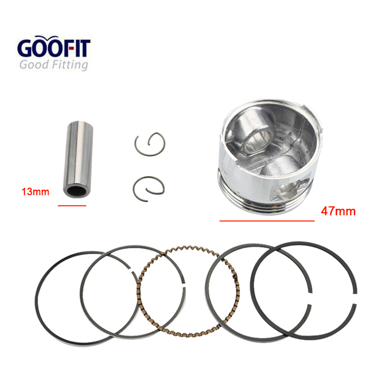 GOOFIT 47mm Piston Ring 13mm Pin Set Kit  Assy For GY6 80cc Moped Motorcyle Accessory Piston K082-062
