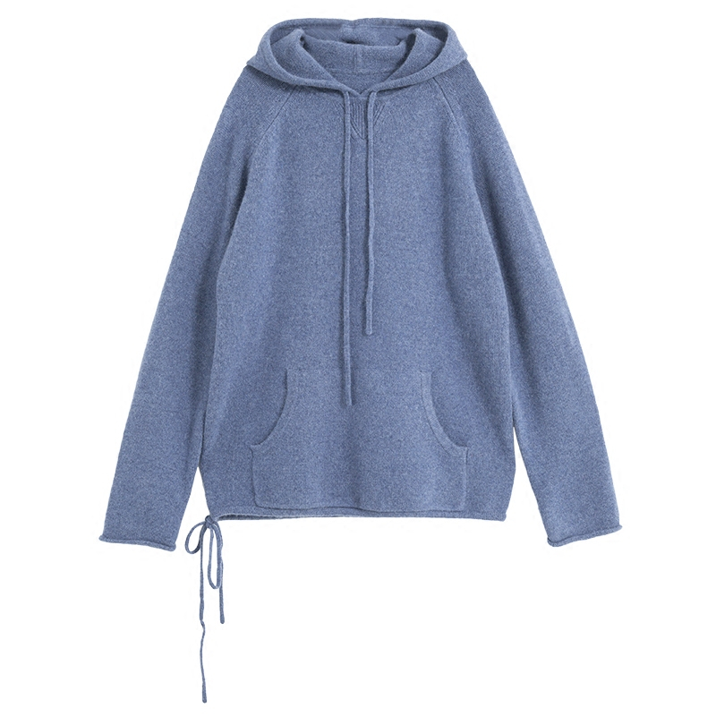 high grade pure goat cashmere thick knit women hooded sweatshirts tie collar pullover wide loose coat red 4color S XL