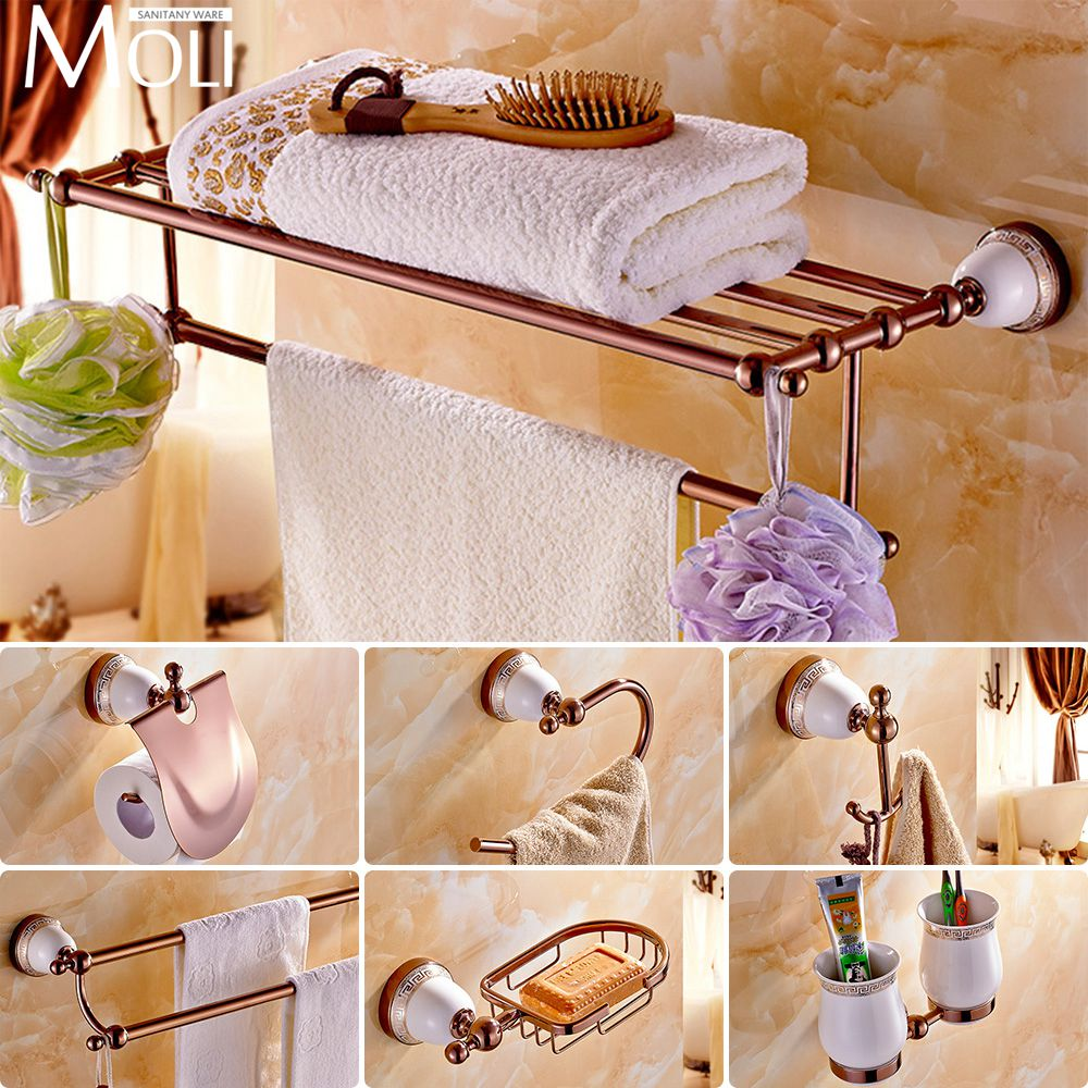 Gold Bathroom Set - Chinese style ceramic rose gold bath hardware bathroom accessories set robe hook paper holder toilet brush holder bathroom set