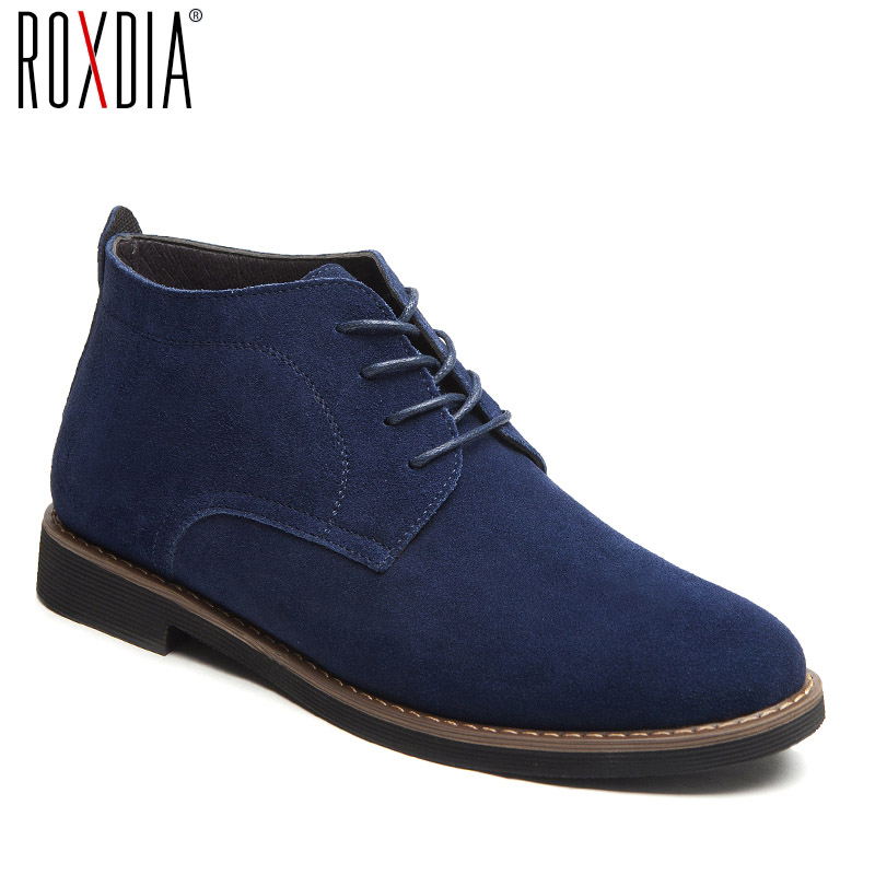ROXDIA Genuine Leather Men Boots All Season Work Shoes Male Lace Up For Man Ankle Boots With Fur Black Plus Size 39-48 RXM099