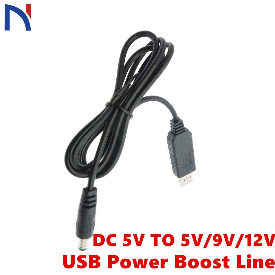 DC 5V to 5V//9V//12V  5.5*2.1mm Step Up Boost Converter Line Wire Cable USB DC