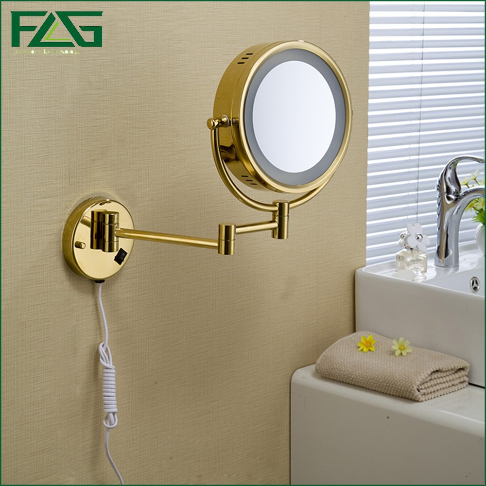 Golden Brass LED Light Makeup Mirrors 8.5 Round Dual Sides 3X /1X Mirrors Bathroom Cosmetic Mirror Wall Mount Magnifying Mirror large 8 inch fashion high definition desktop makeup mirror 2 face metal bathroom mirror 3x magnifying round pin 360 rotating