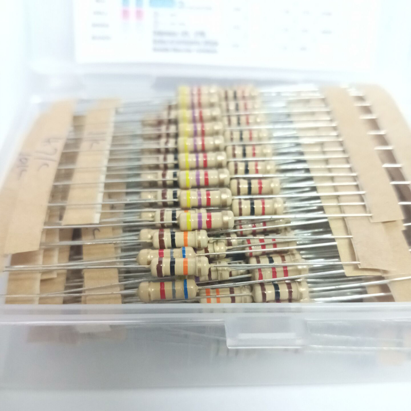 Hot Sale 300pcs 30value Rang 10ohm-1Mohm 1/2W 5% Carbon Film Metal Resistors Assortment Kit Set NEW 30 Values Resistor