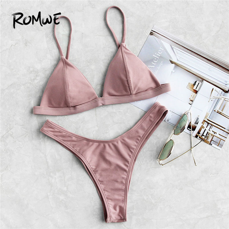 Romwe Sport Rosa Naht Detail Dreieck Bikini Set Frauen Brust Pad Mit Hoher Taille Plain Badeanzug 2018 Sommer Weibliche Reizvolle Badebekleidung
