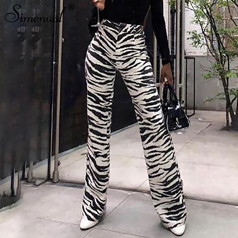 Simenual Casual Fashion Women   Wide     Leg     Pants   High Waist Vintage Loose Trousers Zebra Printed Summer 2019   Pants   Femme Sexy Slim