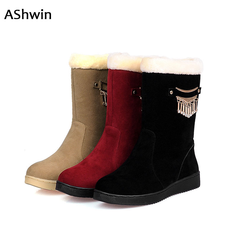 AShwin fur snow boots woman casual high top cotton boots warm thermal shoes flats waterproof non