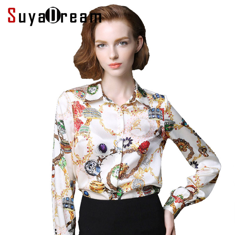 Pure Mulberry SILK blouse Women long sleeve work Brand Print Satin - Women's Clothing - Photo 1