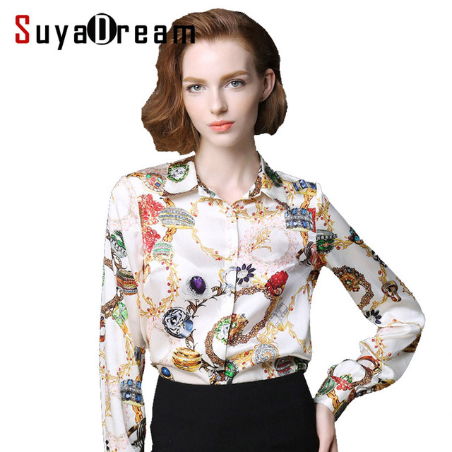 834fc08936893 Pure Mulberry SILK blouse Women long sleeve work Brand Print Satin Blusas  femininas Office lady STRETCH
