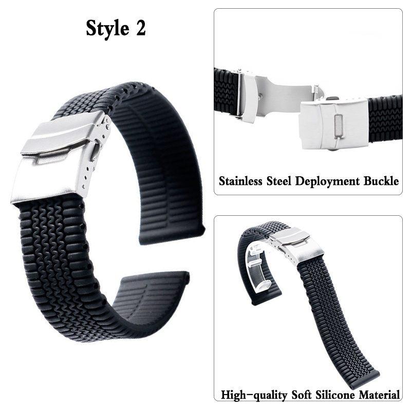 Watches ... Watch Accessories ... 32793220121 ... 3 ... 3Styles Sports Watch Band 20mm 22mm 24mm Soft Silicone Rubber Strap Steel Buckle Bracelet Wrist WatchBand watch accessories ...