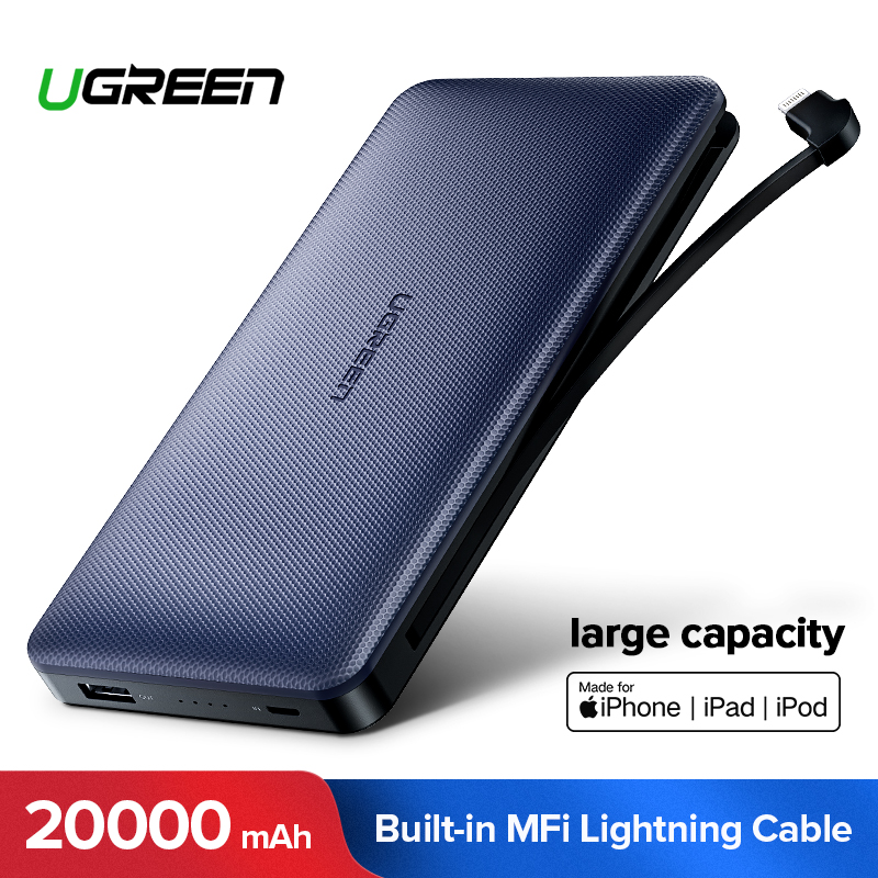 Ugreen Power Bank 20000mAh For iPhone X 7 Samsung S9 For USB iPhone Cable Powerbank Portable