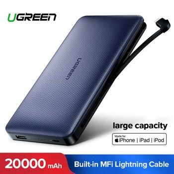 Ugreen banco de energía 20000 mAh para iPhone X 7 Samsung S9 para USB iPhone Cable Powerbank cargador portátil batería externa pover banco