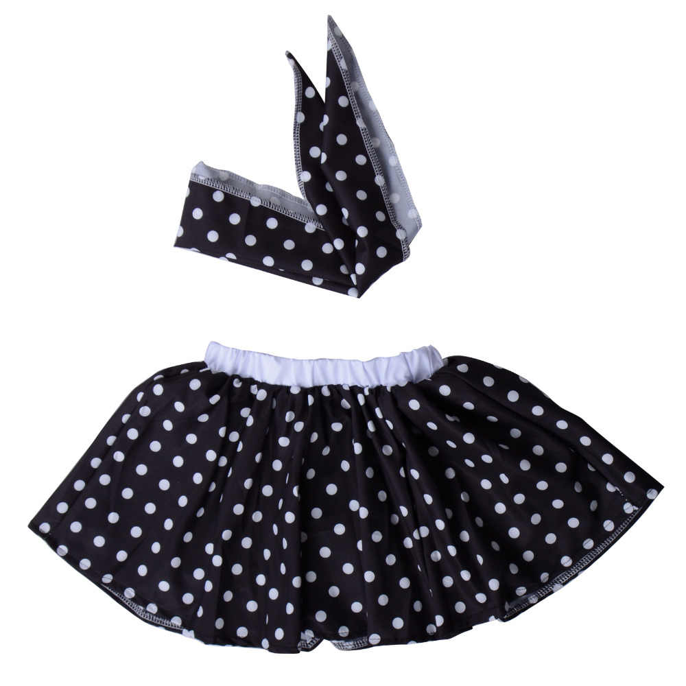 Children 1950s Rock N Roll Grease Fancy Dress 50s 60s Sock Hop Toddler  Girls Jazz Costume Polka Dots Skirt with Scarf Outfit