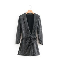 2019 Fashion Women Glitter Sequins Deep V Neck Romper Sexy Silver Long Sleeve Playsuit