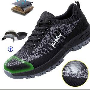 Image 4 - Botas de trabajo con punta de acero para mujer, zapatos protectores de seguridad, ligeros, transpirables, antideslizantes, talla 40