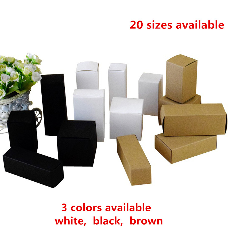 50pcs 20 sizes available brown white black blank kraft for Kraft paper craft tubes