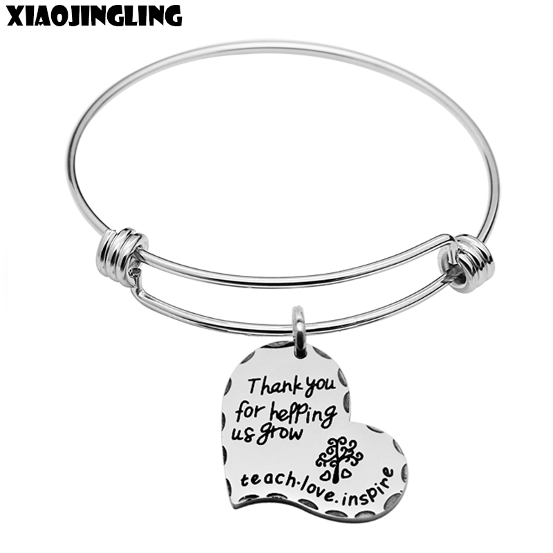 XIAOJINGLING New Stainless Steel Bracelets Thank You For helping Grow Teach Love Inspire Bracelet For Women Teacher s Day Gifts