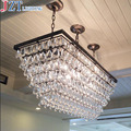 L80 * W 30 см Ретро Железный Арт Бар Хрустальный свет Американская страна креативный прямоугольный Кофе Ресторан гостиная Подвесная лампа
