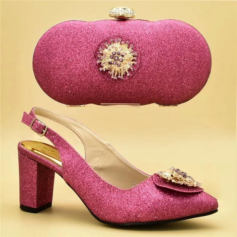 Bolsos Con Mujer Juego púrpura Italiano Moda oro De peach rojo Fiesta Zapatos Bombas Decorado Apliques A Azul Italia Y Encuentro rosado Nuevos Conjunto 1EqPXn7S