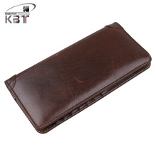 New Oil Waxed Genuine Leather Long Vintage Men's Wallet Bifold  Purse Daily Clutch Bag Mobile Phone Bags Pack Card Holder Coffee
