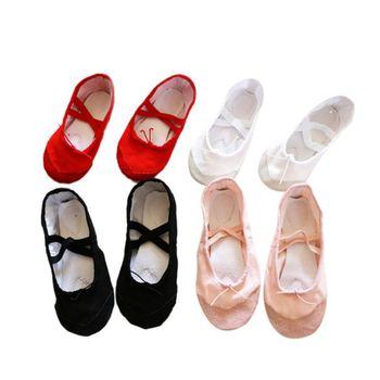 Yoga Gym Flat Slippers White Pink White Black Canvas Ballet Dance Shoes For Girls Children Women Teacher 2019 New