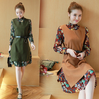 2017 spring new Korean long sleeved Floral Chiffon Dress spring wool two piece backing Camisole skirt