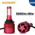 Auxmart hb4 llevó la linterna del coche 9006 auto jefe de la lámpara led smd virutas 80 w/set faros para toyota honda chrysler lexus vw