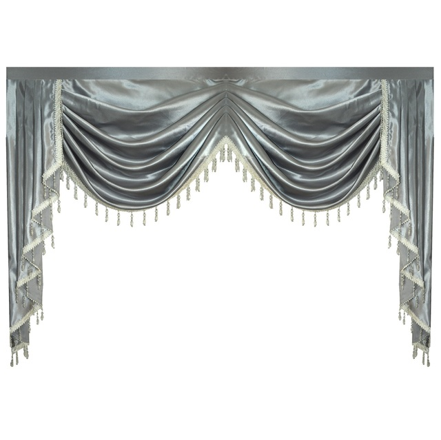 Valance Pure Grey Luxury Color Lambrequin Curtains For Living Room Window Swag Bedroom