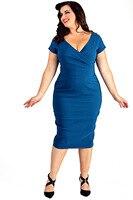 새로운 여름 여성 플러스 사이즈 dress 깊은 v 넥 스트레치 bodycon 튜닉 무릎 길이 연필 짧은 소매 three 색상 패션 dress