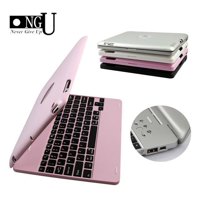 Wireless Bluetooth Keyboard for iPad 2 3 4 Case Cover Protective Portable Keyboard Case for iPad 4 3 2 Stand  Luxury Smart Case