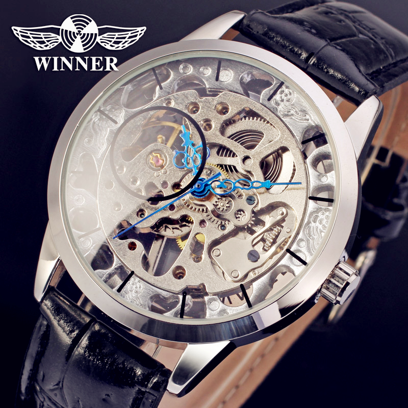 Fashion WINNER Men Luxury Brand Skeleton Leather Sport Casual Watch Automatic Mechanical Wristwatches Gift Box Relogio Releges winner brand men luxury see through skeleton stainless steel watch mechanical hand wind wristwatches gift box relogio releges