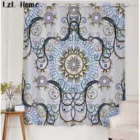 LzL Home new complex Geometric pattern blackout curtains luxury Chinese 3d fabric curtains window decoration for the bedroom