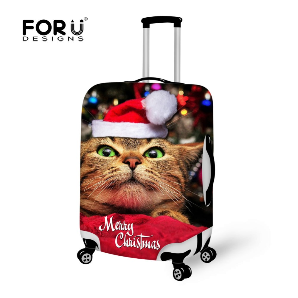 FORUDESIGNS Cute Cat Christmas Travel Suitcase Cover Luggage Protective Covers Apply to 18-30 Inch Case Waterproof Rain Cover