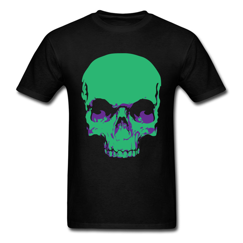 Male Fashionable Design Tops & Tees Crew Neck Summer All Cotton Tshirts Funny Short Sleeve Skull green T-Shirt Skull green black