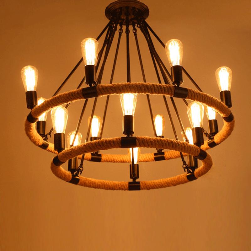 Loft Stil American Industrial 14 Kopf Schwarz Farbe Hanfseil Pendelleuchte Wohnzimmer Lampe Caf Bar