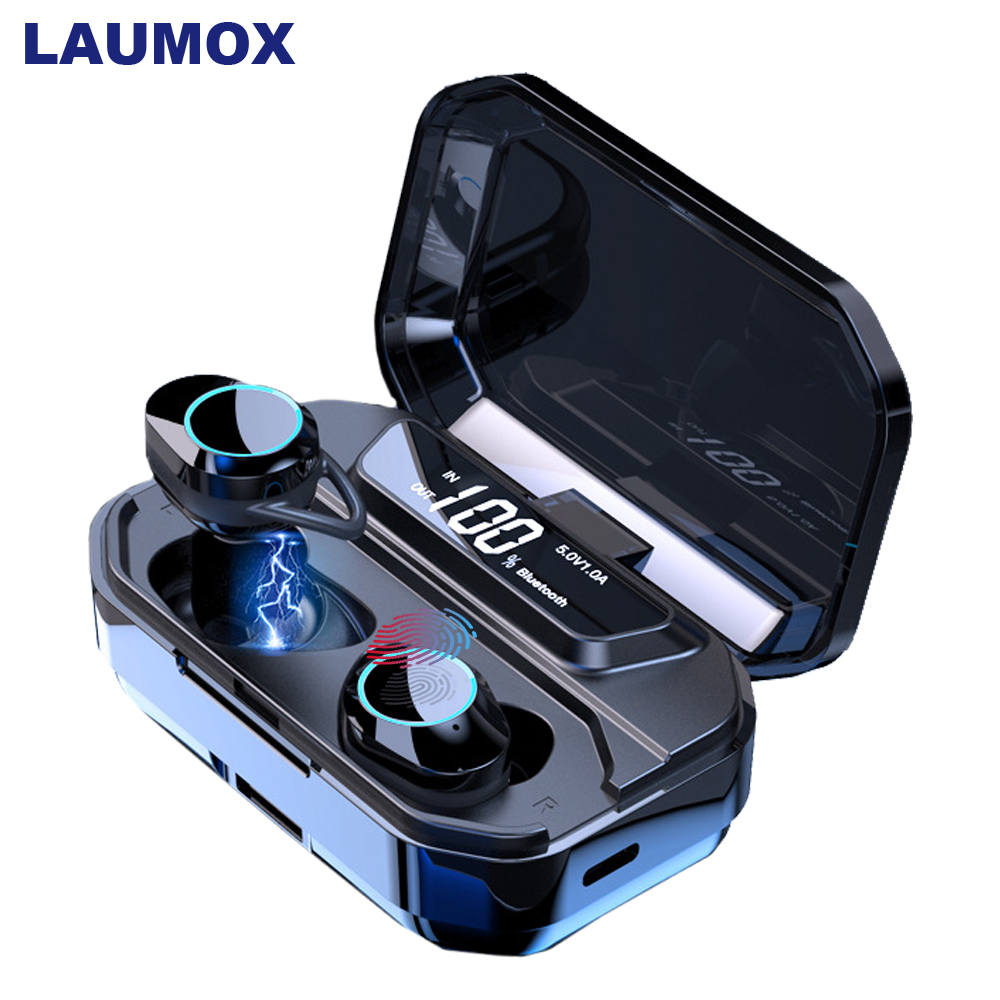 LAUMOX TWS 6D Display Digital Mini Sem Fio Bluetooth 5.0 Fones De Ouvido fone de Ouvido Estéreo de ALTA FIDELIDADE Com Caixa de Carga 3300 mAh Banco De Potência