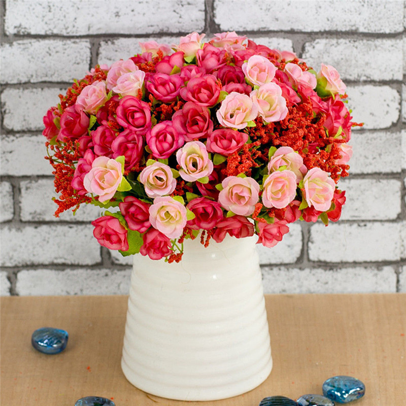 21pcs/Heads Artificial Vintage Rose Flowers Bouquet Fake Leaves Wedding Decoration Ceremony Party Bridal Bouquet Home Decor