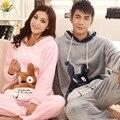 2016 зима мультфильм пара с длинными рукавами пижамы норки бархатной пижаме с капюшоном обслуживание на дому костюмы